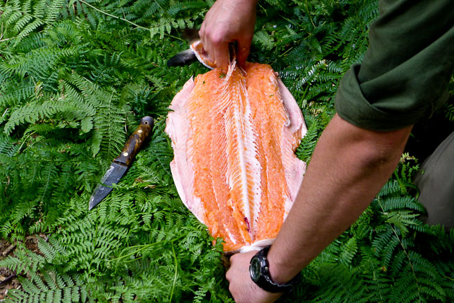 Preparing-salmon-for-cooking-over-the-fire